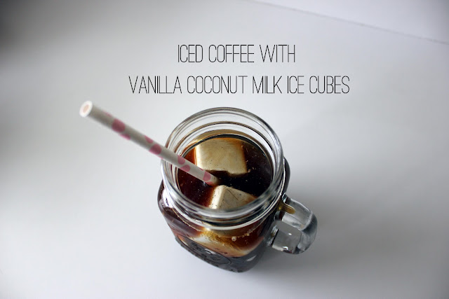 iced coffee with vanilla coconut milk ice cubes | via withach.com
