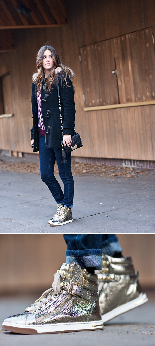 gold sneakers styled by http://withach.com