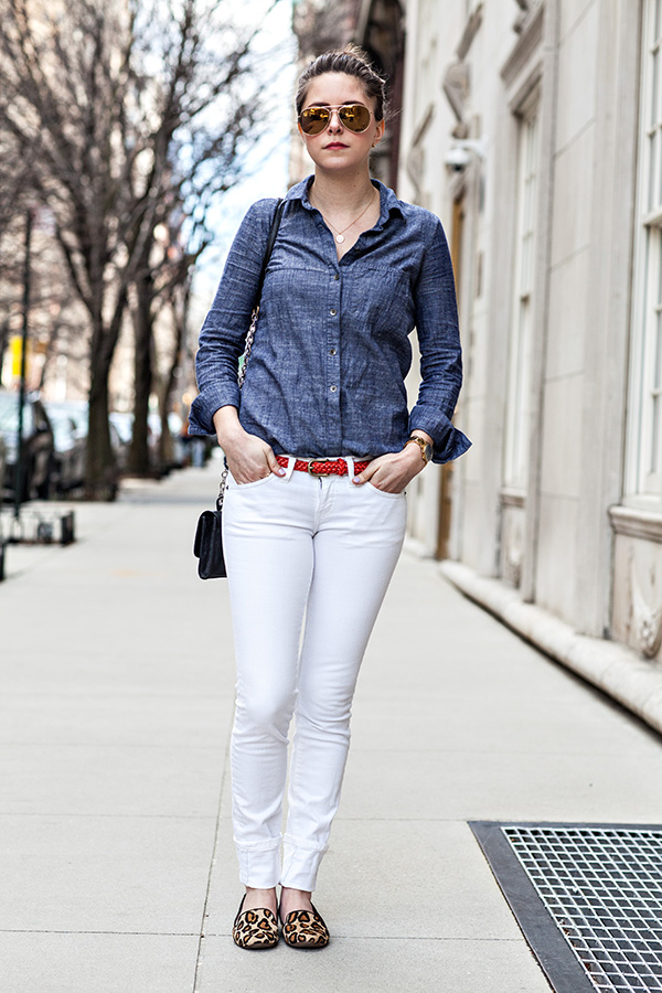 Outfit white denim weather with a ch for White pants denim shirt